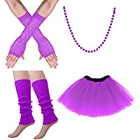 Auidy_6TXD 80s Fancy Dress Costume Set, Gloves Beads Costume Accessories for Women(one size purple)