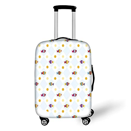 Travel Luggage Cover Suitcase Protector,Cartoon,Aquarium Themed Fish Cartoons with Spots and Lines Geometrical Backdrop Art Print,Multicolor,for TravelM 23.6x31.8Inch -