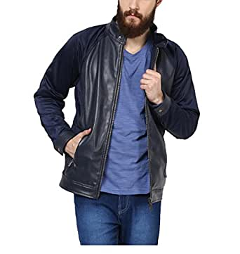 Yepme Men's Blue Faux Leather Jackets - YPMJACKT0296_S