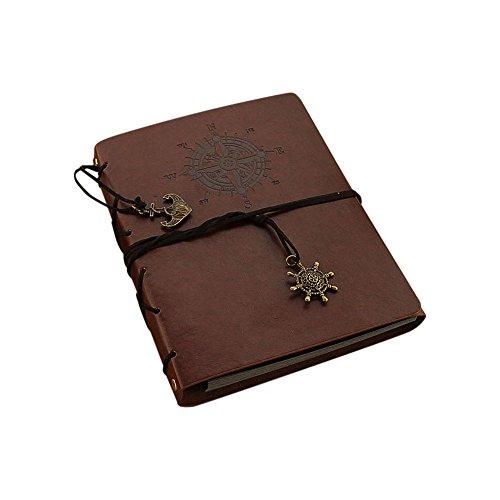 Jia HU 1 pcs DIY Album photo en cuir vintage Scrapbooking Autocollant albums enregistrer Cadeau de mariage marron