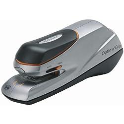 Rexel Optima Grip 2102348 - Grapadora eléctrica, capacidad para 20 hojas, Incluye 1000 grapas Rexel 26/6, 20 x 14.7 x 8.8 cm, color plateado y negro