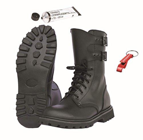 Französische Leder Kampfstiefel Legionärsstiefel + Schuhpflegemittel + AOS-Outdoor® Schlüsselanhänger 43