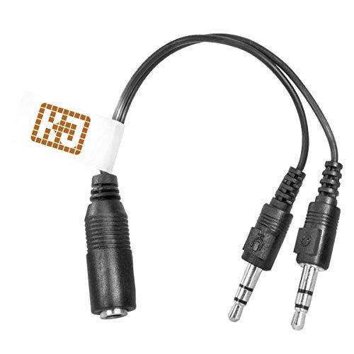 Audioadapter PC-Headset zu PC - 3,5mm Klinken-Buchse auf 2x 3,5mm Klinken-Stecker - 15cm