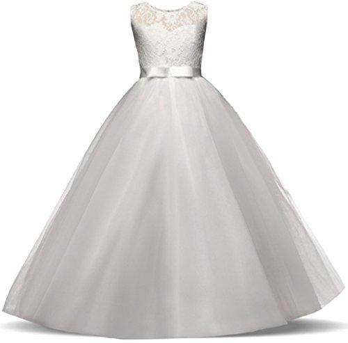 AGOGO Mädchen Kinder Kleider Festlich Brautjungfern Kleid Prinzessin Hochzeit Party Maxi Kleid Spitze Spleiß Chiffon Festzug Gr. 116 128 140 152 164 170 (134, Weiß)