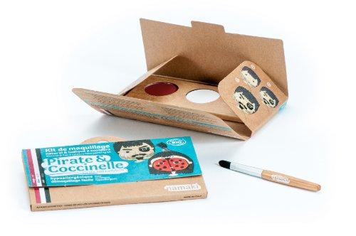 NAMAKI - Make-up-Set für Kinder - 3 Farben für das Gesicht - Pirat und Marienkäfer - Rot Weiß Schwarz - Mit Pinsel - Natürliche und hypoallergene Farben - 7,5 g