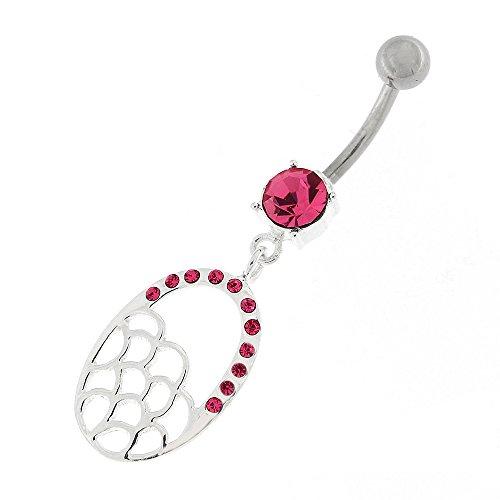 Envie de Multi Wave en ovale Dangling Design argent Sterling 925, avec anneau de nombril en acier inoxydable Rose
