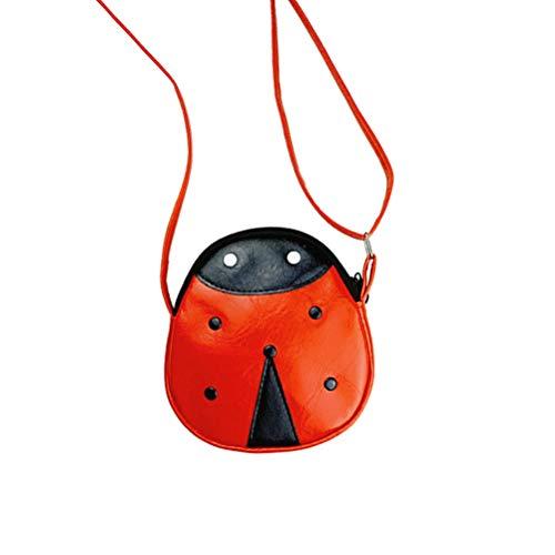 Fenical Kinder kleine Mädchen Leder Marienkäfer Crossbody Handtasche Tasche Mini Handtaschen Umhängetaschen Umhängetasche für Kinder Kleinkind Baby Mädchen (rot)