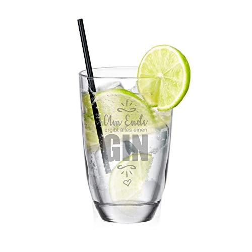 4youDesign Gin-Glas Am Ende ergibt Alles einen Gin - lustige Geschenkidee Gin Tonic - Geburtstagsgeschenk - Männergeschenk - Geschenk für Frau