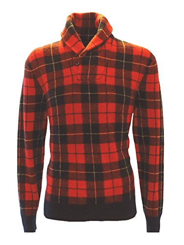 Plaid Pony Shirt (Ralph Lauren - Pullover - LS TARTAN Shawl PLAID Red - Wolle - Gr. L)