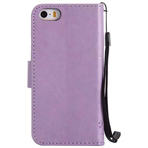 JIALUN-Telefon Fall Mit Kartensteckplatz, Lanyard, Druck Schöne Muster Mode Open Handy Shell Für IPhone 5 5S SE ( Color : Red ) Lavender