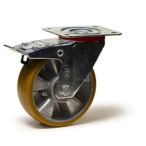 Roulette pivotante à frein Ø 100 polyuréthane jante aluminium fixation à platine - 200Kg