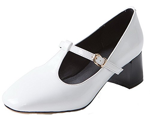 VogueZone009 Couleur Légeres Talon Bas Boucle Femme Chaussures Blanc Cuir Unie Carré PU à fZUqfR