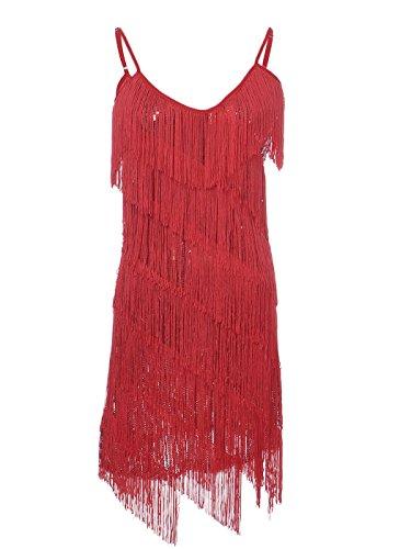 Pailletten Mini Silber Kleid (Anna-Kaci Frauen Adjustable Gatsby Pailletten Quaste Fransen Troddel 1920s Flapper ärmellos Schwingen Quasten Rückenfrei Spaghettibügel Party Mini)