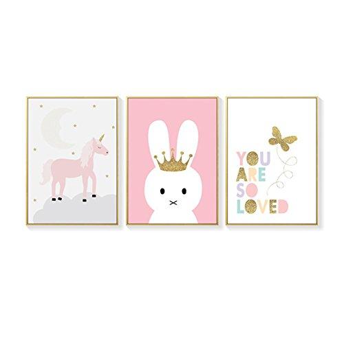SpirWoRchlan 3er Set Kinderzimmer Poster Babyzimmer Din A4 Ohne Bilderrahmen Mädchen Junge Kinderposter Kunstdruck Rosa/Weiss und Bunt (Einhorn, Kaninchen,Brief)