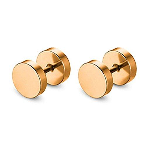AnaZoz 1 Paar Ohrstecker zum Schrauben - 10 Größen wählbar: 3mm - 14mm Edelstahl (Nickelfrei) Ohrringe Ohr Fake Tunnel Piercing Ohrtunnel für Damen & Herren Gold 7MM