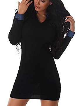 Damen Strickkleid Minikleid Pulli Pullover Sweater Feinstrick V-Ausschnitt Bluse Kragen elegant mini kurz langarn...