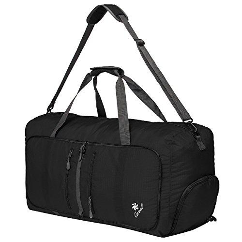 Handtasche Wasserdichter Trekking Faltbare Sporttasche Große Reisetasch 80L Schwarz Schwarz
