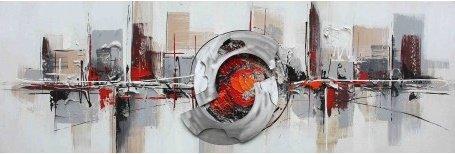Tableau panoramique abstrait gris et orange, dimensions 50/150 cm,tableau peinture à l'huile sur toile de coton montée sur un châssis en bois. Tableau panoramique entièrement exécuté à la main. Tableau signé. Thème abstrait. Décoration moderne et contemporaine. Tableau pour toutes les pièces et ambiances déco