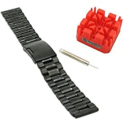 Ritche Luxury black 22mm Stainless Steel Watch Band strap Solid Links +Tool+spring bars