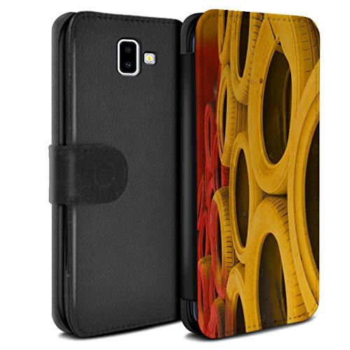 eSwish PU Pelle Custodia/Cover/Caso/Portafoglio per Samsung Galaxy J6 Plus 2018/J610 / Pneumatici/Barriera/Pista Auto Foto Disegno