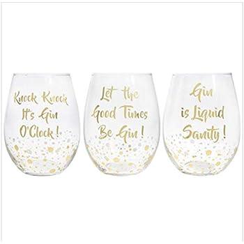 176e8e3e4e4 Set of 3 Gin Glasses STEMLESS Bubble Gold Drinking Champagne Xmas Wine  Tonic New