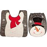 Decdeal 2pcs / set Decorazioni per il bagno di Natale Coprivaso WC + Tappeto a forma di U Ornamenti natalizi