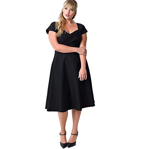 VEMOW Heißer Elegante Damen Plus Größe Abendkleid Lässige Short Sleeve Formal Cocktail Solide Swing Dress(Schwarz, EU-44/CN-4XL)