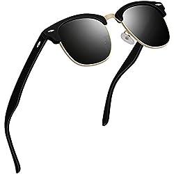 VVA Gafas de sol polarizadas clásico retro medio marco para Hombre y Mujer V1002(Mate Negro)