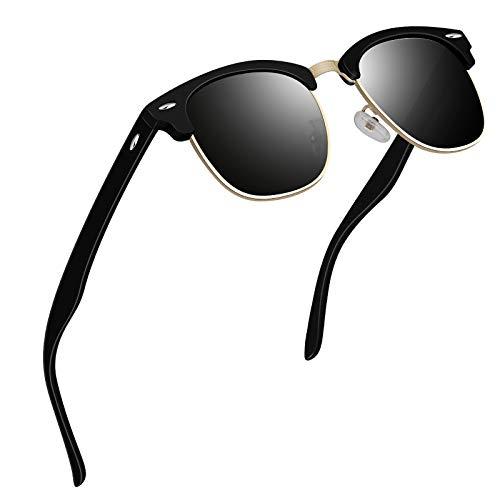 VVA Sonnenbrille Herren klassischer Retro-Halbrahmen Polarisiert Sonnenbrillen für Herren Damen V1002(Matt Schwarz)