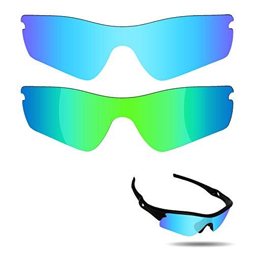 Fiskr anti-saltwater Polarisierte Ersatz Gläser für Oakley Radar Path Sonnenbrille 2Paar verpackt, Ice Blue & Emerald Green