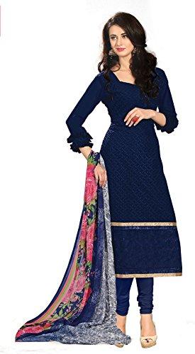 Khushali Fashion Women\'s Georgette Dress Material (BRCRS1003_Navy Blue_N/A)