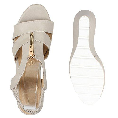 Damen Keilsandaletten Bast Sandaletten Weiße Profilsohle Wedges Creme Reissverschluss