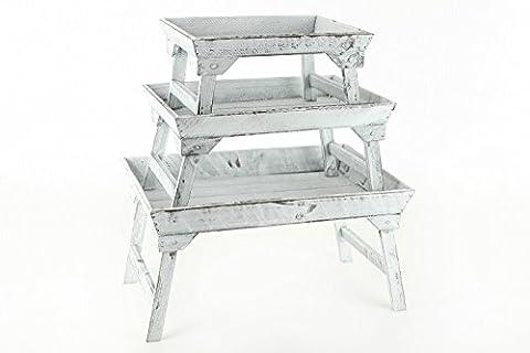 3er Set Dekotablett Tablett Shabby Chic in weiß gewischt mit aufklappbaren Füßen - 3tlg. Dekoration Aufbewahrung Landhaus Vintage
