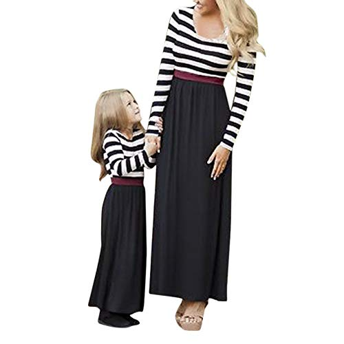 (Oyedens Partnerlook Mutter Tochter, Mama Kind Kleid Strandkleid Sommerkleider Kinder Mädchen Langarm Boho Gestreiften Print Kleid Familien Kleidung Matching Outfits)