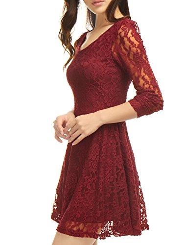 Allegra K Femme Faible col rond Manches Longues Floral Dentelle Mini Jupe Rouge