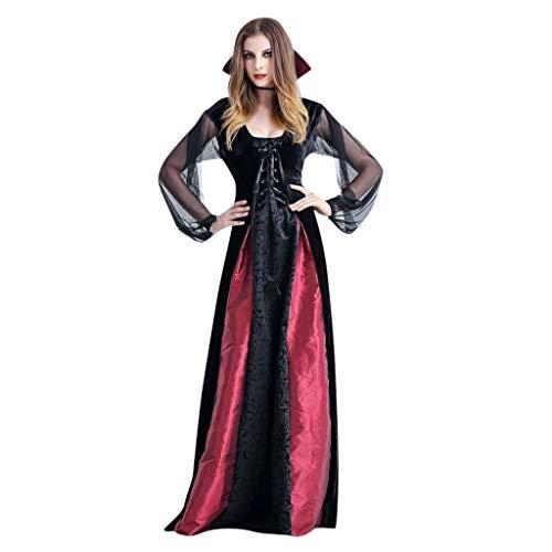 Zylione Damen Partykleid Halloween Maxi Kleid Steampunk Gothic Kostüm Vampir Hexe Kleider Lang Gothic Kleid Cosplay Hexenkostüm Kostüm Schwarz Partykleid Temperament Göttin Königin Kleider Umhang -