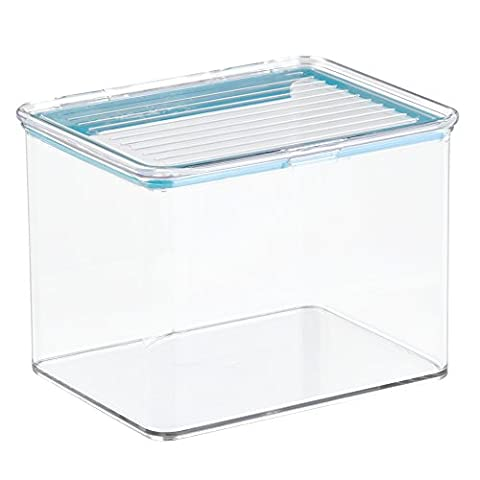 InterDesign Kitchen Pantry Fridge Binz Organizer Container with Sealed Lid, 2.2 quarts, Clear