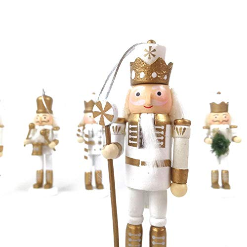5 teile/satz Holz Nussknacker Soldat | Festliche White And Gold Drummer Military Outfit | Außergewöhnliches traditionelles - Drummer Kostüm