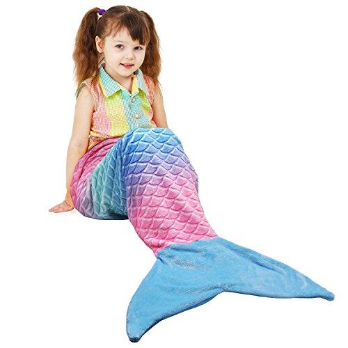 Catalonia Meerjungfrau Decke, Meerjungfrauen Flosse Erwachsene Kinder Sofa Decken Schlafsack Fleecedecke zu hause outdoor, Ideal Geschenke für mädchen,137 x 48 cm