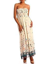 Hippie Maxikleid Bandeau Chiffonkleid trägerloses Sommerkleid, Farbe:Creme;Größe:One Size