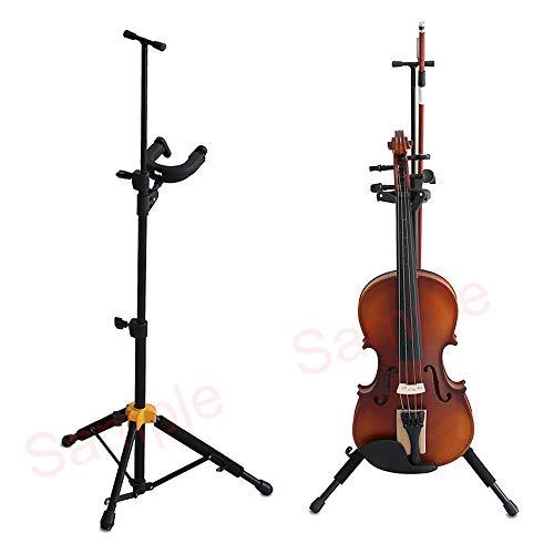KOBWA Geigenständer Viola-Halter mit Bogenhalter Klappbar Musikinstrumentständer Stativfuß Vertikal Violinenhaken mit Aufbewahrungstasche Haushalt Stark und Fest