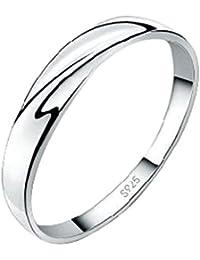 DEHANG – Bague Anneau Couple Argent 925 Couple Rings Femme Homme – Fiançailles / Alliance / Mariage - Avec Boîtes Cadeau