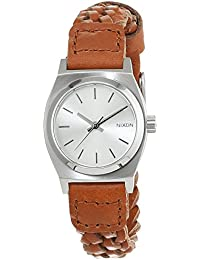 Nixon Damen-Armbanduhr Small Time Teller Leather Saddle Woven Analog Quarz Leder A5092082-00