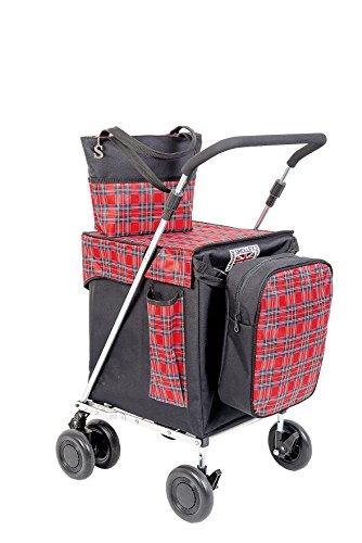 Sholley 'Balmoral' Faltbarer Deluxe Einkaufswagen. Robuster zweilagiger Shopper und Mobilitätshilfe zum Gehen, 4, 6 Räder, Handtasche, Kühltasche, kostenloser Innentaschentrenner.