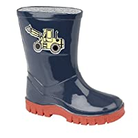 Boys Infant Navy Wellington Boot with Yellow Digger Motif 5 (23)