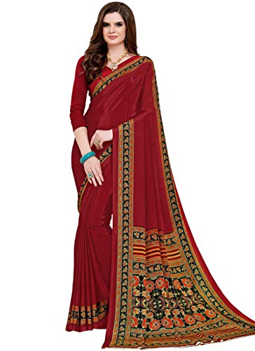Abstract Multi Color (Maple Fashions Silk Multi Colour Abstract Print Printed Saree)