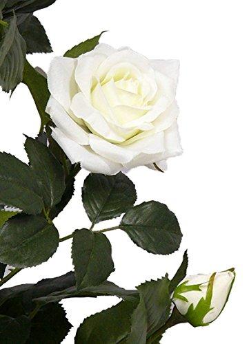 artplants Set 2 x Künstlicher Rosenbaum Juliana, 15 Blüten, Creme, 100 cm – Kunstblumen Baum/Kunstrosen Baum
