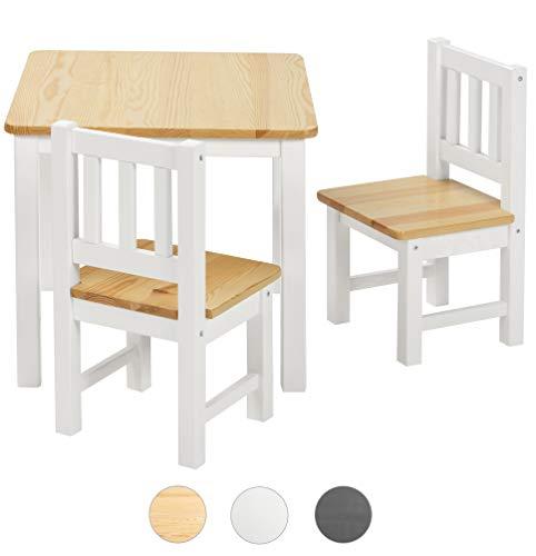 ♥ BOMI® Kindersitzgruppe Amy aus Kiefer Massiv Holz für Kleinkinder, Mädchen und Jungen Natur Weiß