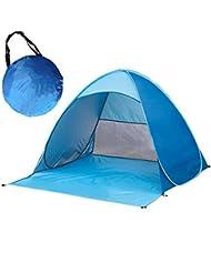 Al aire libre Pop Up tienda de campaña instantánea portátil impermeable UV protección Quick Cabana playa tiendas de campaña parasol para 2–3personas, azul