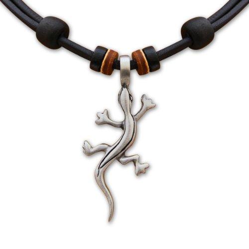 HANA LIMA ® Surferkette Lederkette Geckokette Halskette Herren Damen Metallanhänger - Hawaii Halskette Für Männer